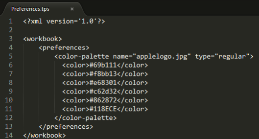 color palette prefs